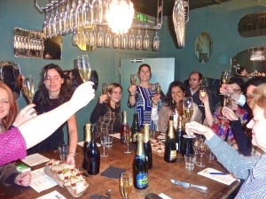 Fun at Champagne et Fromage,Covent Garden.
