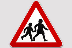 Children crossing pictogram road sign
