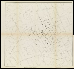 Snow's detailed map of the Broad Street cholera outbreak of 1854 which clearly showed the illness centred on the street's water pump
