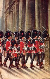 The Coldstream Guards marching into the Bank by Harry Payne