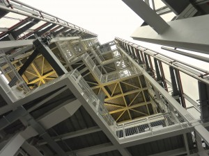Looking upwards to the pinnacle of The Shard from level 72, the highest public vantage point and open to the elements