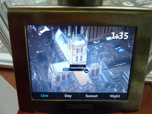 Now just a dot on the landscape - Southwark Cathedral, London's highest building 400 years ago as seen on a Tell:scope screen from The View © Culture Voyage