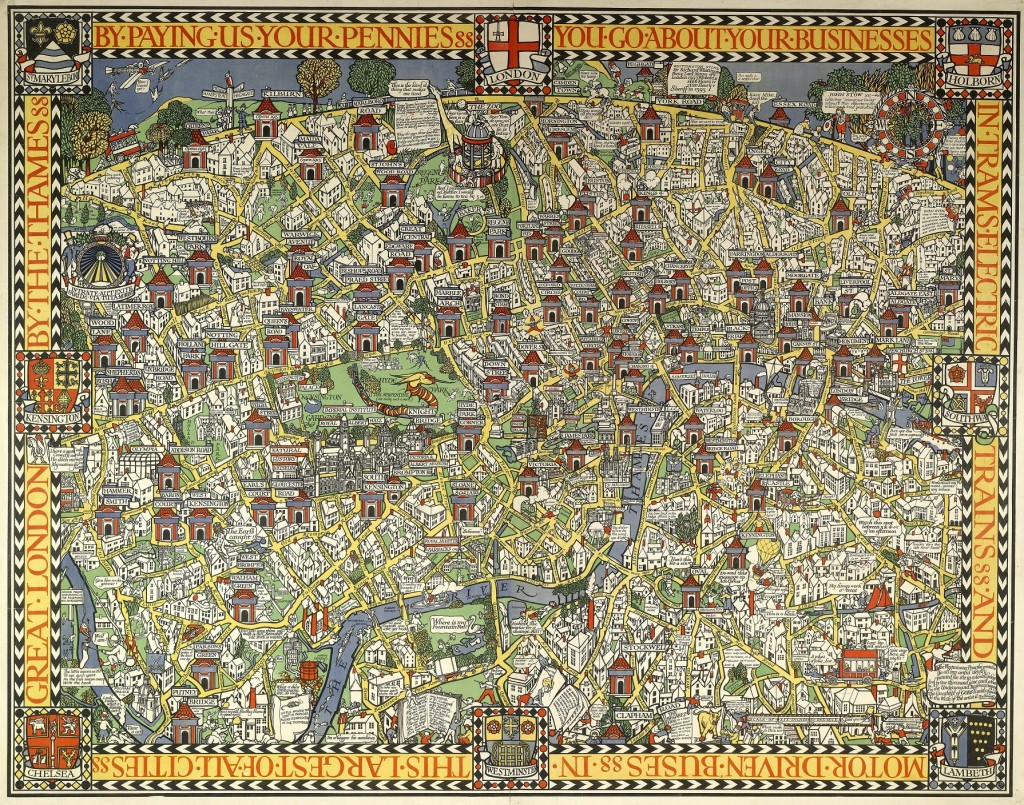 'By Paying Us Your Pennies' (1914), later known as 'The Wonderground Map of London Town' MacDonald Gill © London Transport Museum Collection