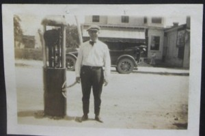 A young Mac Conner manning the pumps at his parents' store in Newport, NJ where he worked at the till and serviced cars.