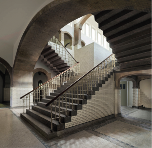 Escher's school in Arnhem, photographed in 2014 by Gerrit Schreurs and edited to give an ipmression of what it might have looked like in Escher's day. © Escher in Het Paleis, The Hague.