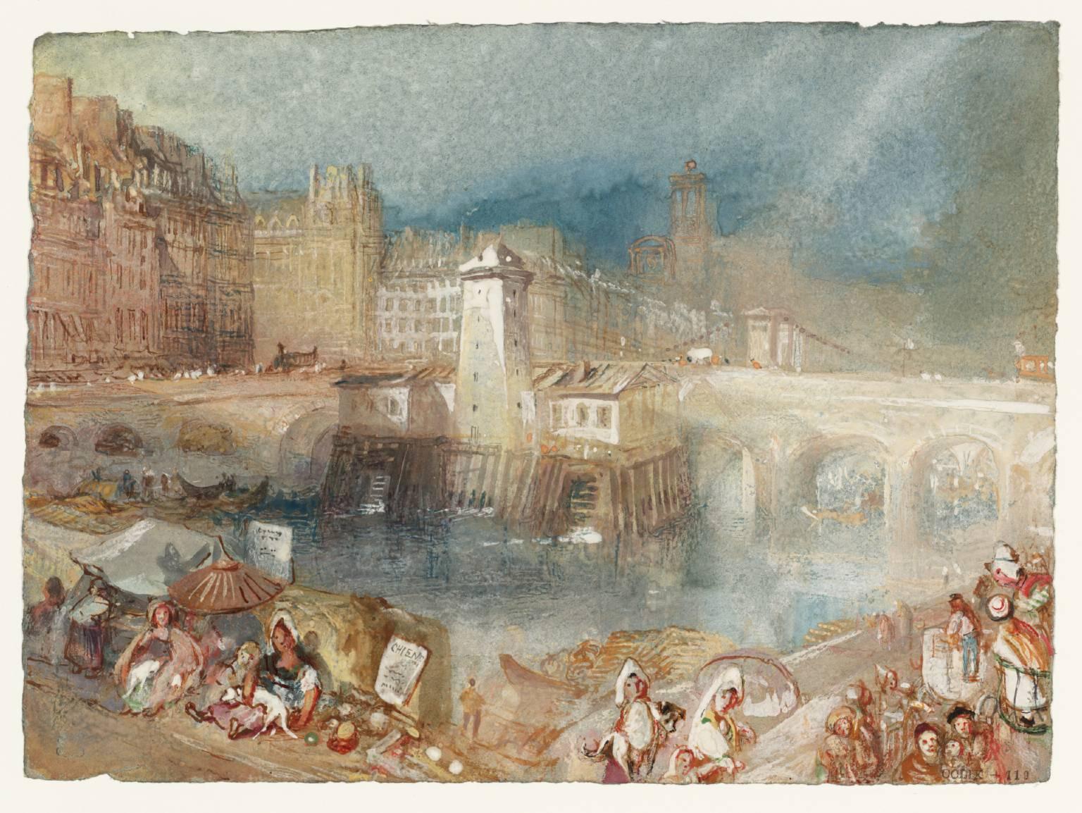 Hôtel de Ville and Pont d'Arcole c. 1833, Turner. Tate.