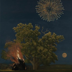 Oak Tree, Bonfire, Moon and Firework, David Inshaw, 2012, The Fine Arts Society