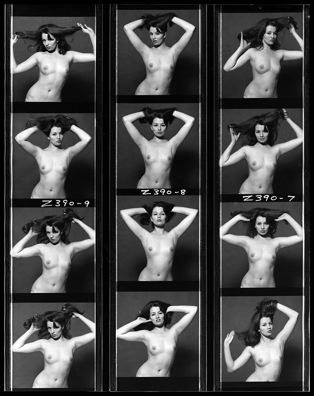 A contact sheet showing a topless Christine Keeler shot by the famous celebrity photographer Brian Duffy at his studio in 1964. (Photo by Duffy © Duffy Archive.)
