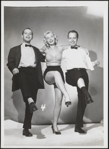 Date unsure (but probably 1950s). In Mac Conner's heyday, New York City was a draw for aspiring actors, many of whom earned extra money working as models. They would sometimes work as models for reference shots for illustrators. Conner often stepped in to act as a model at his own shoots. He is seen here on the right performing a high kick.