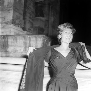 The actress Rita Hayworth laughing while out in Rome in 1960.