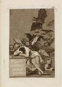 The sleep of reason produces monsters, c. 1797-98.'Los Caprichos' 43, The British Museum