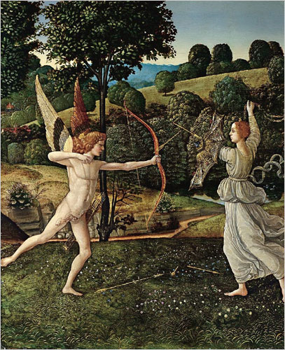 The Combat of Love and Chastity, (probably 1475-97) by Gherardo di Giovanni del Fora (1444/5-1497). The national gallery, London.