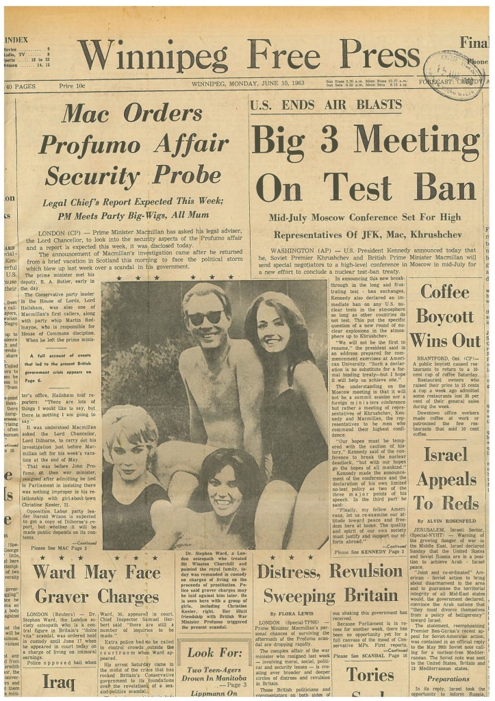 The front page of the Winnipeg Free Press, 10 June 1963, shows the much-reproduced photograph of Ward with Keeler and two other girls taken by John Profumo. (© Winnipeg Free Press.)