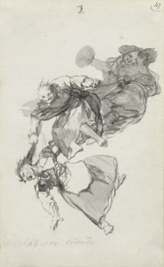 They descend quarrelling (Bajan riñendo), Album D, page 1, c. 1819-23, private collection