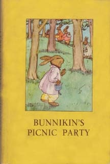 The first small, hardback format book from W&H for children - Bunnikins Picnic Party of 1940