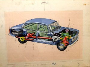 Original artwork by David Carey for The Motor Car, How it Works, series 654, 1965.