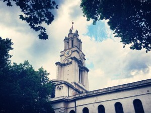 St Anne's Limehouse, the maritime church, its White Ensign proudly flying